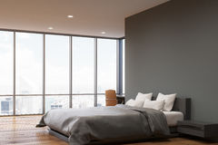 Dark gray wall bedroom, side Royalty Free Stock Photography