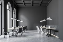Dark gray cafe interior. Dark gray wall cafe interior with arched windows and white and gray chairs. Concept of business lunch. 3d rendering mock up Royalty Free Stock Photography