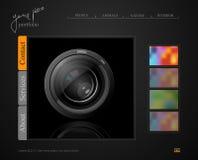 Dark gray web site, portfolio photographer. With a lens Stock Image