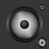 Dark gray woofer with speakers. Isolated on gray background Stock Photos