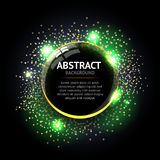 Dark green Abstract ring background. Metal chrome shine round frame with light circles and spark light effect. royalty free illustration