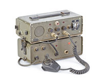 Dark green amateur ham radio on white background. Old dark green amateur ham radio on white background royalty free stock photos