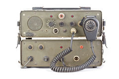 Dark green amateur ham radio on white background. Old dark green amateur ham radio on white background royalty free stock photography