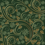 Dark green background. With floral ornaments Stock Images