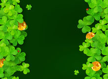 Dark green background with clovers, golden coins. Dark green vector background with clovers, golden coins and ladybugs Stock Photos