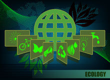 Dark green background with ecology symbols Royalty Free Stock Photos