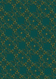 Dark green background with gold floral pattern with cross Royalty Free Stock Photos