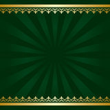 Dark green vector background with golden decorations and rays Royalty Free Stock Images