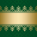 Green vector background with golden ornament Stock Images