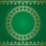 Dark green vector background with golden ornament Royalty Free Stock Photo
