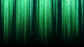 Dark green background with light rays, translucent binary code. Sequins Stock Photo