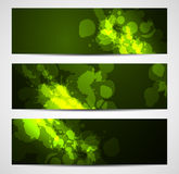 Dark green banners with splatters Royalty Free Stock Image