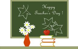 Dark green blackboard with white lettering Happy Teachers Day. Red vase with white flowers, red apple on books on white background Stock Photography
