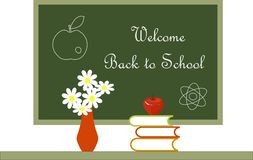 Dark green blackboard with white lettering Welcome Back to School  Royalty Free Stock Images