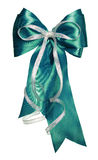 Dark green bow with silver ribbon made from silk Royalty Free Stock Photo