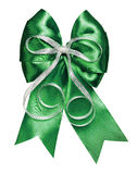 Dark green bow with silver ribbon made from silk Royalty Free Stock Photography