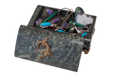Dark green casket of serpentinite with jewelry Royalty Free Stock Photography