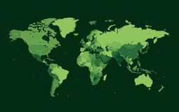 Dark green detailed World map Royalty Free Stock Photos