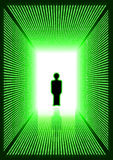 Dark green digital corridor with man silhouette Stock Image