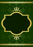 Dark green elegant vector card with golden decor Stock Photography