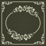 Dark green floral frame Royalty Free Stock Image
