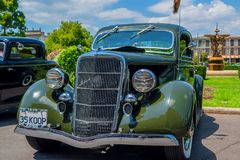 Dark green Ford hot rod car. At Victorian Hot Rod & Cool Rides Show in Melbourne, Australia Stock Photography