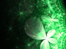 Dark green fractal flowers. Digital artwork for creative graphic design Royalty Free Stock Photography