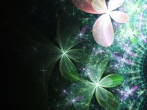 Dark green fractal flowers. Digital artwork for creative graphic design Stock Photos