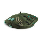 Dark green french beret made from felt Stock Photography