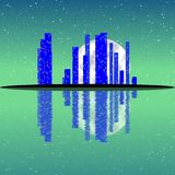 Dark green full moon night, cityscape, shining windows in skyscrapers Royalty Free Stock Image