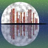 Dark green full moon night, cityscape, shining windows in skyscrapers Stock Images