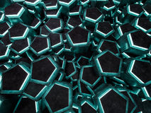 Dark green geometrical abstract background. 3D. Rendering Stock Photos