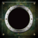Dark Green Grunge Metal Porthole Stock Images