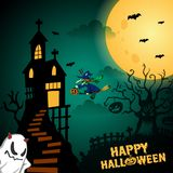 Dark Green Happy Halloween Background Illustration flying witches vector illustration