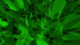 Dark green low poly waving surface as fantastic relief. Dark green polygonal geometric vibrating environment or stock footage