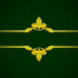 Dark green luxury background with gold ornament from petals vintage Stock Images