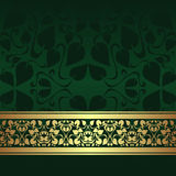 Dark green ornamental Background with golden ribbo Royalty Free Stock Photography