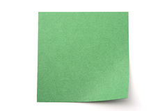 Dark green paper stick note on white background Royalty Free Stock Images