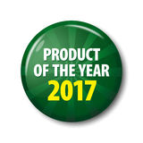 Dark green round label `Product of the year 2017`. royalty free illustration