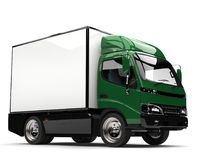 Dark green small box truck. Isolated on white background Stock Images