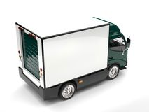 Dark green small box truck - top down view. Isolated on white background Royalty Free Stock Photography