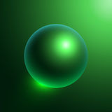 Dark green sphere-01. Illustration with green glossy sphere isolated on dark green background. Ready for your design. Vector Illustration Stock Images