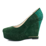 Dark green suede platform shoe isolated on white background. Royalty Free Stock Photos