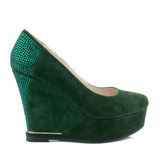 Dark green suede platform shoe isolated on white background. Stock Images