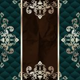 Dark green vintage banner with metallic ornaments Royalty Free Stock Image