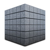 Dark grey 3D cube isolated on a white. Background Stock Photography