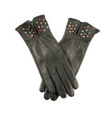 Dark grey leather gloves with colorful crystals Stock Images