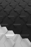 Dark grey and light grey hexagonal relief wall surface - vertical background Stock Photos
