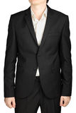 Dark grey mens blazer two buttons, white shirt without tie Royalty Free Stock Photos