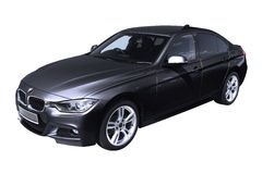 Dark grey modern car, BMW 3 (F30) Stock Photos